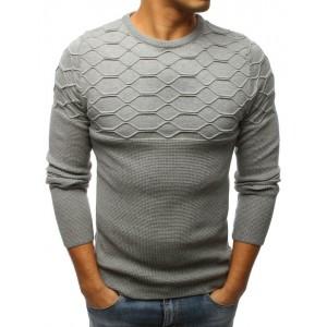 Jedinečný vzorovaný pánský svetr šedé barvy