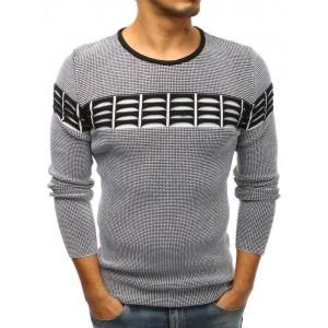 Černý svetr s dekorací na úrovni hrudníku pro pány