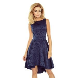 Žakárové šaty na večírek s prodlouženou zádí sukně