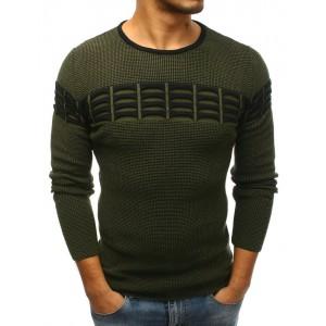 Stylový pánský svetr tmavě zelené barvy