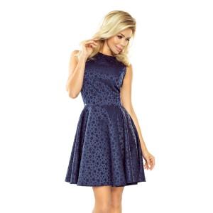 Tmavě modré dámské krátké šaty hrubé s kruhovým motivem