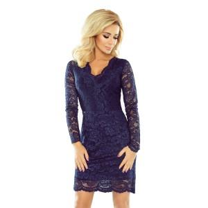 Elegantní krajkové šaty tmavě modré barvy s dlouhými rukávy