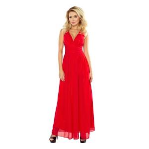 Šifónové dlouhé červené šaty s rozparkem