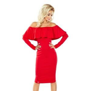 Stylové dámské koktejlové šaty červené barvy s volánem