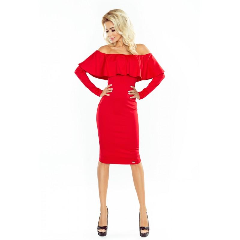 Stylové dámské koktejlové šaty červené barvy s volánem 44f09a3438