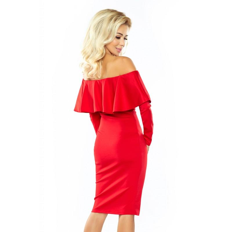 Stylové dámské koktejlové šaty červené barvy s volánem cbe2c015921