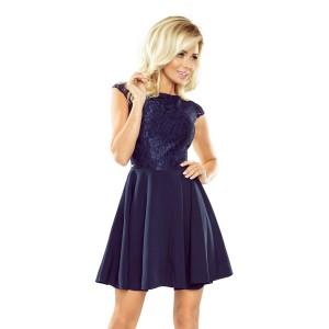 Společenské dámské tmavomodré šaty krátké s krajkovou vrchní částí