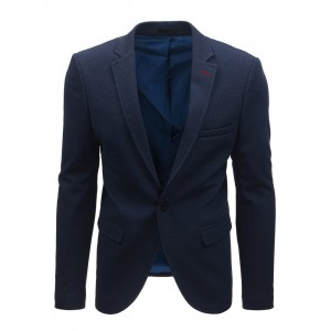 Tmavě modré casual pánské sako slim
