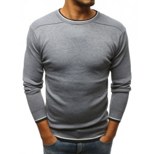 Šedý pánský svetr přes hlavu s kulatým výstřihem