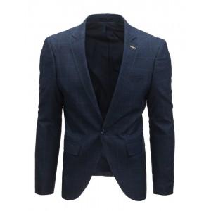 Tmavomodré sako pro muže s károvaným vzorem