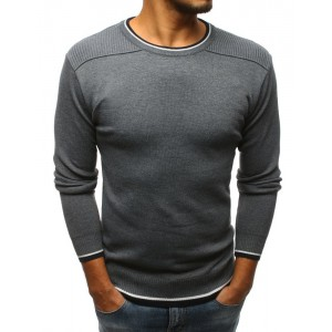 Trendový pánský svetr tmavě šedé barvy