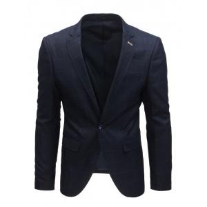Pohodlné tmavomodré pánské sako k riflím s károvaným vzorem