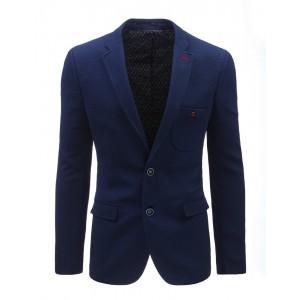 Neformální modré pánské sako s kapsou na hrudi