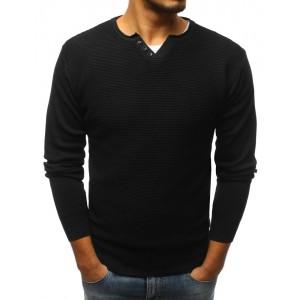 Pánský svetr s véčkovým výstřihem černé barvy