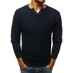 Elegantní tmavě modrý svetr s knoflíky pro pány