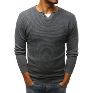 Moderní pánský svetr s knoflíky na výstřihu šedé barvy