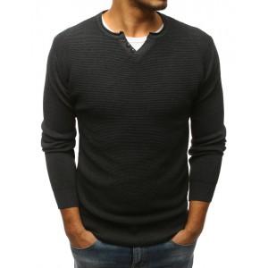 Tmavě šedý pánský svetr s knoflíky na výstřihu