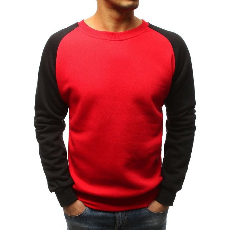 Klasická pánská mikina bez kapuce červená s černými rukávy 8c5de11c26
