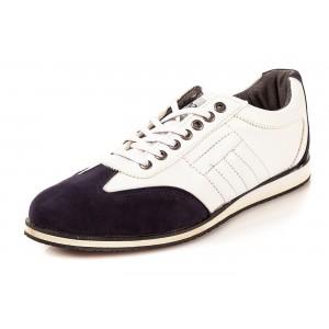 Elegantní pánská obuv bílé barvy s hnědou semišovou špičkou