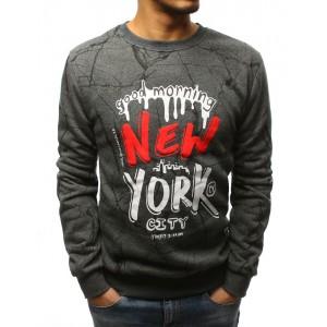 NEW YORK pánská šedá mikina bez kapuce