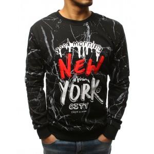 Pánská černá mikina bez kapuce s červeným potiskem NEW YORK