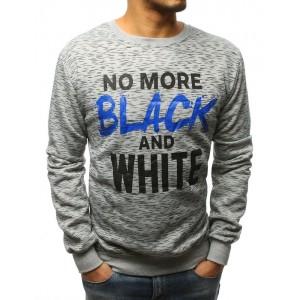 Pánská moderní šedá mikina NO MORE BLACK AND WHITE
