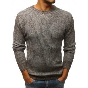 Stylový pánský pletený svetr hnědé barvy