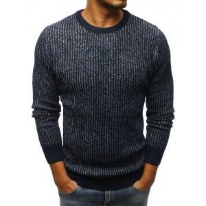 Tmavě modrý pánský pletený svetr
