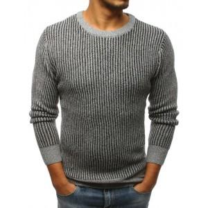 Trendový pánský pletený svetr šedé barvy
