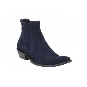 Pánské modré semišové kovbojky s koženým obložením
