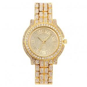 Nadčasové dámske náramkové hodinky v zlatej farbe so zirkónmi