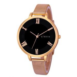 Elegantní dámské hodinky s černým ceferníkom v růžově zlaté oceli