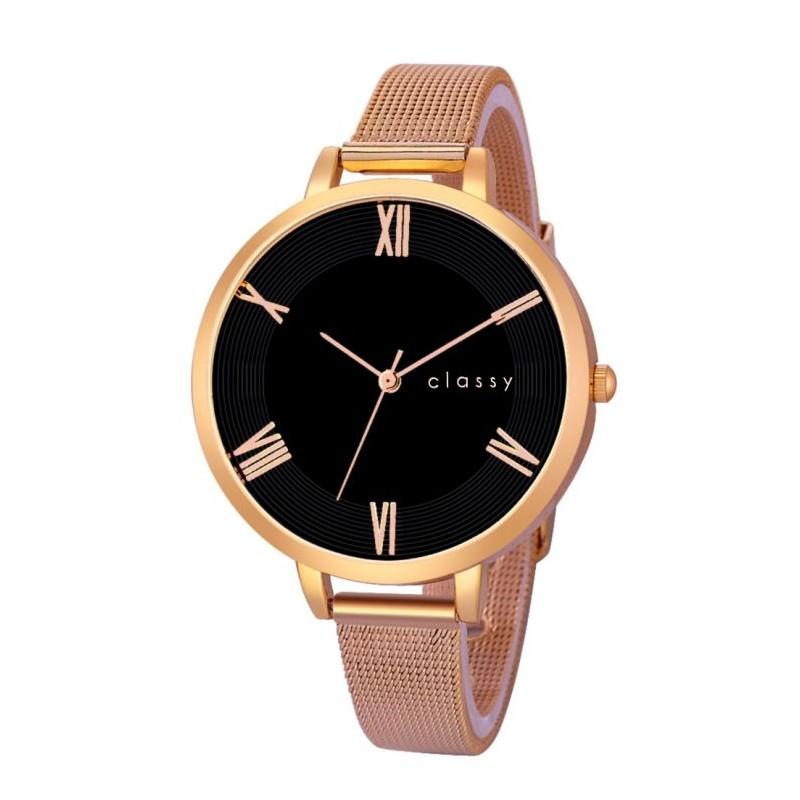 Elegantní dámské hodinky s černým ceferníkom v růžově zlaté oceli 76062b2d99
