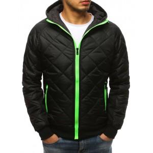Černá pánská přechodná bunda s barevným zipem