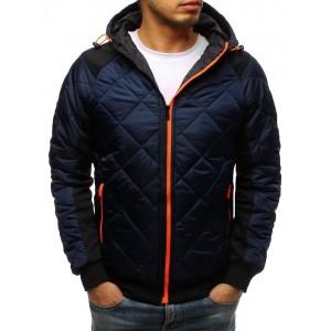 Stylová pánská přechodná bunda v modré barvě s kapucí