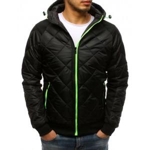 Pánská přechodná prošívaná bunda s kapucí černá