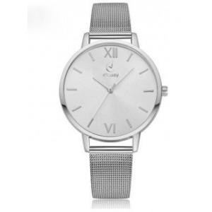 Dámské náramkové hodinky s bílým ciferníkem a kovovým řemínkem