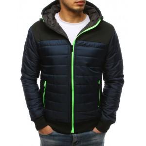 Pohodlná pánská přechodná bunda v modré barvě s reflexním zipem