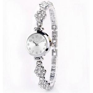 Elegantní dámské stříbrné hodinky s kamínky na řemínku
