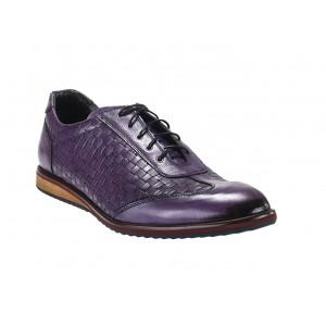 Pánské sportovní kožené boty fialové barvy vhodné na každodenní nošení