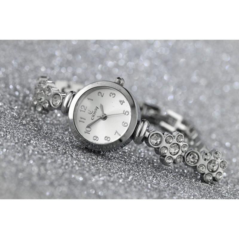 Elegantní dámské stříbrné hodinky s kamínky na řemínku b63e5c6667