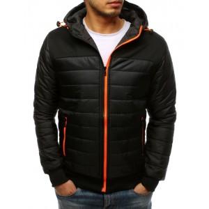 Pánská prošívaná bunda na jaře s oranžovým zipem