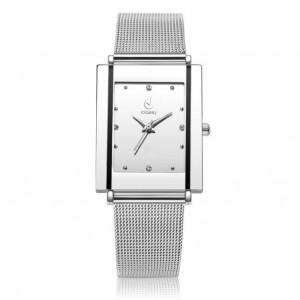 Stylové dámské stříbrné hodinky s kovovým řemínkem na styl opasku