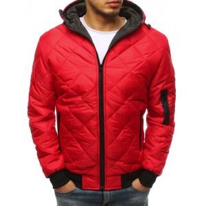 Pánská prošívaná bunda v červené barvě s kapucí