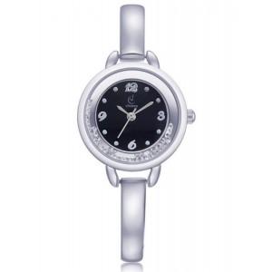 Elegantní dámské stříbrné hodinky s krystalky v ciferníku