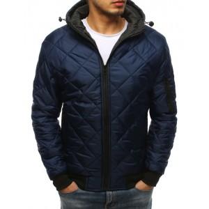 Pánská prošívaná bunda s kapucí v modré barvě