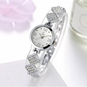 Dámské stříbrné hodinky s originálním řemínkem s krystalky