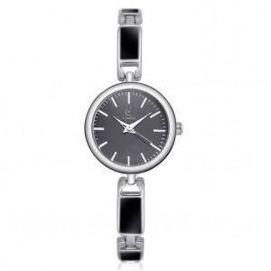 Elegantní dámské hodinky s kovovým páskem a černým ciferníkem