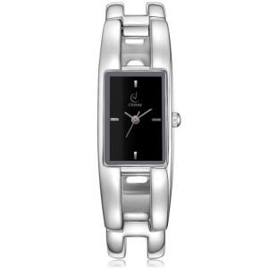 Stříbrné dámské hodinky s obdélníkovým ciferníkem černé barvy