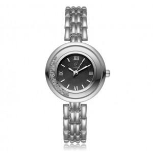 Stylové dámské stříbrné hodinky s černým ciferníkem a krystalky